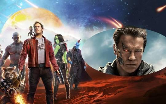 elenco de guardianes de la galaxia con fotografía de arnold schwarzenegger