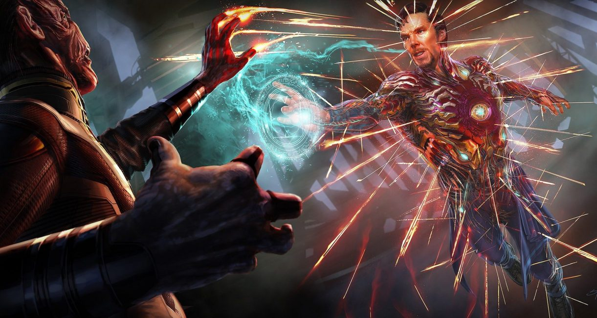 ilustración de doctor strange con armadura de iron man en avengers infinity war