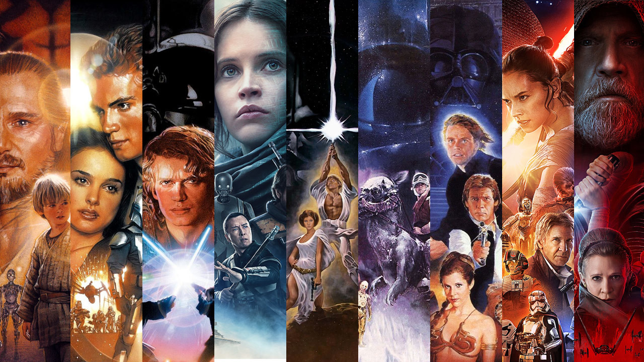 collage de pósters de películas de star wars