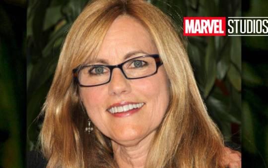 fotografía de leslie Pope con logo de Marvel Studios