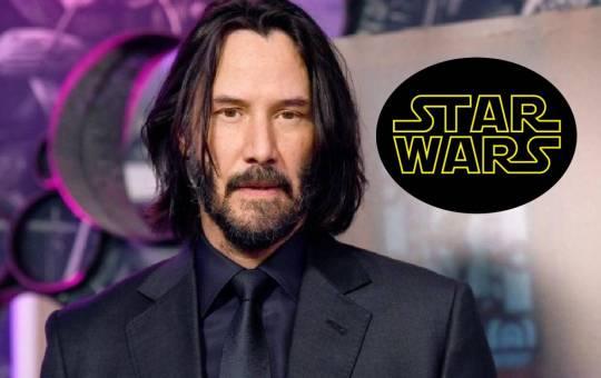 fotografía de keanu reeves con logo de star wars