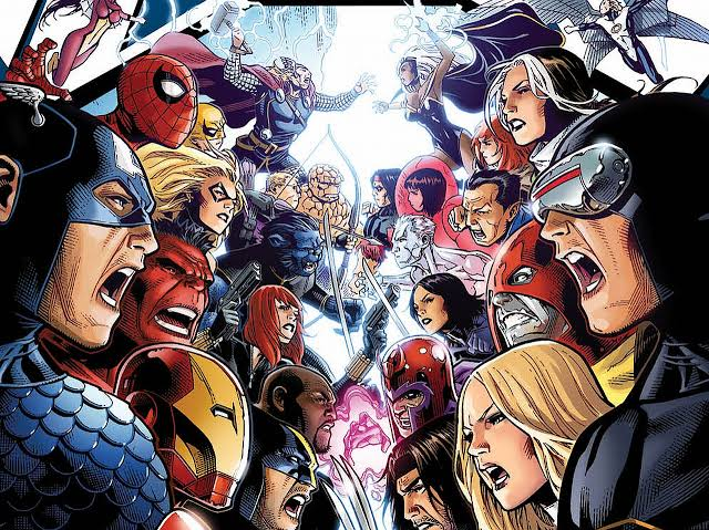Ilustración de Avengers y X-Men