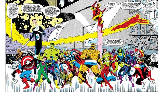 Ilustración de Secret Wars de Marvel Comics