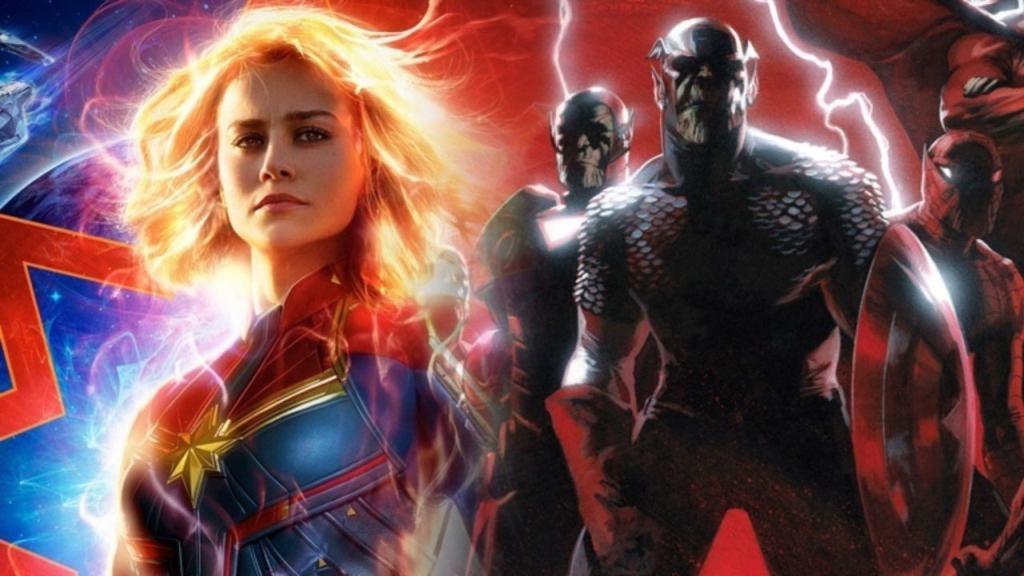 Fotografía de Brie Larson como Capitana Marvel con los Skrull