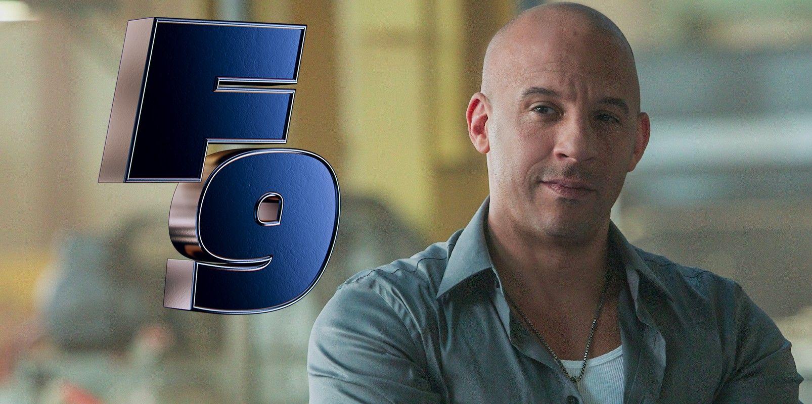 Fotografía de Vin Diesel con logo de Rápidos y furiosos 9