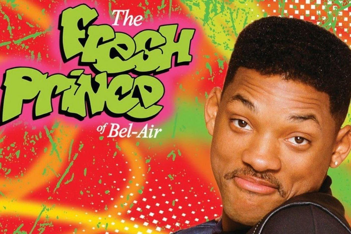 Fotografía de Will Smith con logo de El príncipe del rap