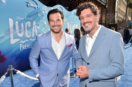 LOS ANGELES, CALIFORNIA - JUNE 17: (L-R) Giacomo Gianniotti and Enrico Casarosa arrive at the world premiere for LUCA, held at the El Capitan Theatre in Hollywood, California on June 17, 2021. (Photo by Alberto E. Rodriguez/Getty Images for Disney)