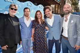 LOS ANGELES, CALIFORNIA - JUNE 17: (L-R) Marco Barricelli, Giacomo Gianniotti, Andrea Warren, Enrico Casarosa, and Dan Romer arrive at the world premiere for LUCA, held at the El Capitan Theatre in Hollywood, California on June 17, 2021. (Photo by Alberto E. Rodriguez/Getty Images for Disney)