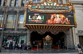 LOS ANGELES, CALIFORNIA - JUNE 08: Guests stand in line for the Loki Global Fan Event at El Capitan Theatre on June 08, 2021 in Los Angeles, California. (Photo by Jesse Grant/Getty Images for Disney )