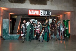 Fans pose at the Special Screening of Marvel Studios' series LOKI on June 08, 2021 in London, England. LOKI will stream exclusively on Disney+ from Wednesday June 9, with new episodes every Wednesday.