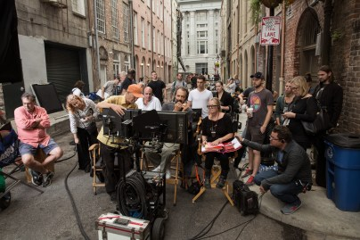 Left to right (center): Director of Photography Oliver Wood, Producer Don Granger, Director Ed Zwick and Script Supervisor Anna Rane on the set of Jack Reacher: Never Go Back from Paramount Pictures and Skydance Productions