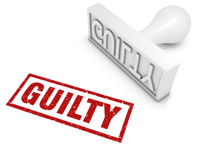Guilty rubber stamp. Part of a series of stamp concepts.