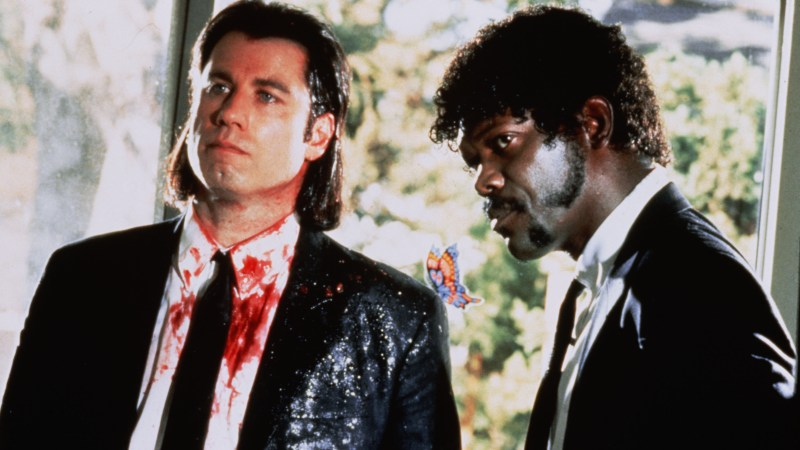 Title: PULP FICTION ¥ Pers: TRAVOLTA, JOHN / JACKSON, SAMUEL L. ¥ Year: 1994 ¥ Dir: TARANTINO, QUENTIN ¥ Ref: PUL004AK ¥ Credit: [ THE KOBAL COLLECTION / MIRAMAX/BUENA VISTA ]