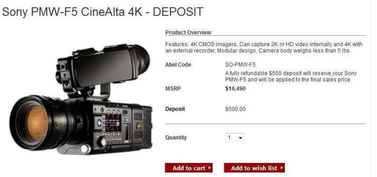 Sony Street Price F5 Camera