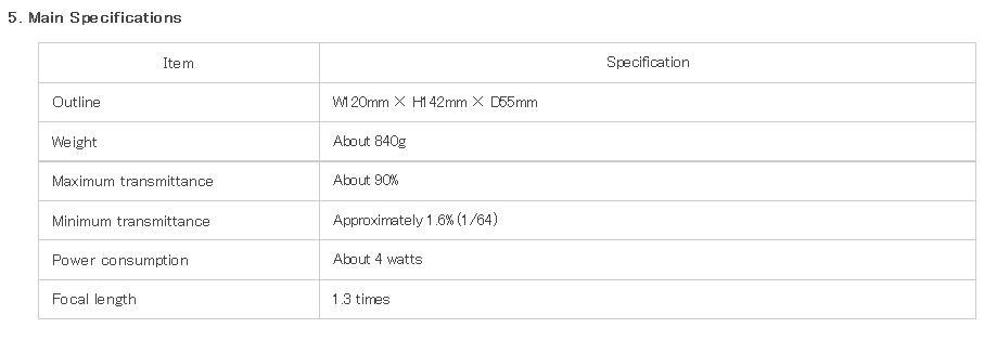 FUJINON ND-P01 Optical Variable ND Filter