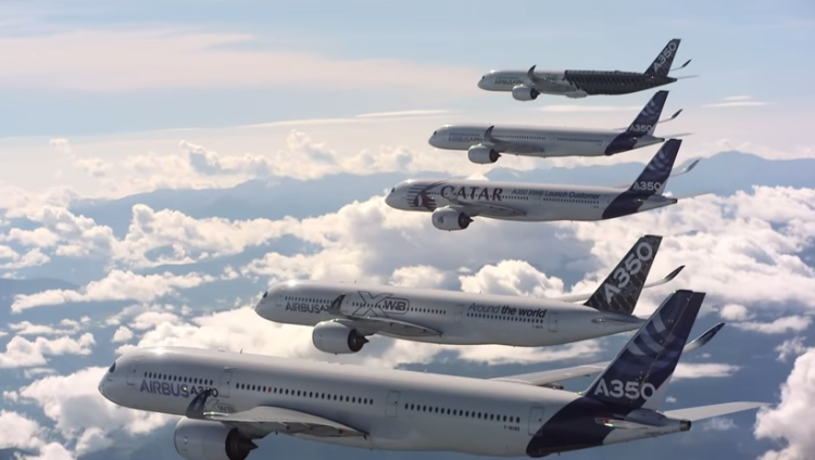 Five A350 XWBs together in flight