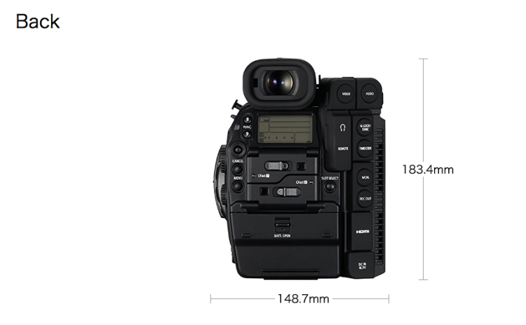 4K Canon C300 MKII Back