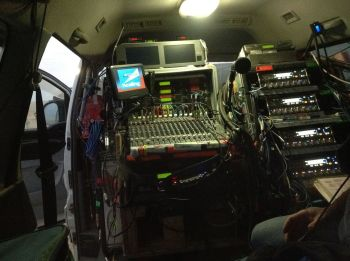Inside the Osmotron recording truck