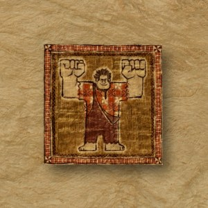 """MOANA - 8-BIT TAPA – Wreck-It Ralph himself makes an appearance on a tapa cloth in """"Moana."""" The character wrecks the Internet in the sequel to the 2012 film, which is slated for release on March 9, 2018. ©2016 Disney. All Rights Reserved."""