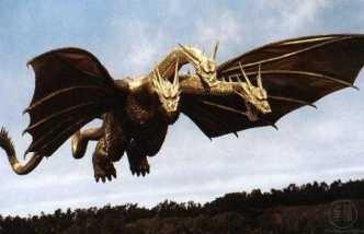 """KING GHIDORAH - Um monstro alienígena, normalmente tido como """"arqui-rival"""" de Godzilla. Apareceu a primeira vez em 1964"""
