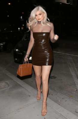 Kylie Jenner Stuns In Sexy Brown Leather Dress To