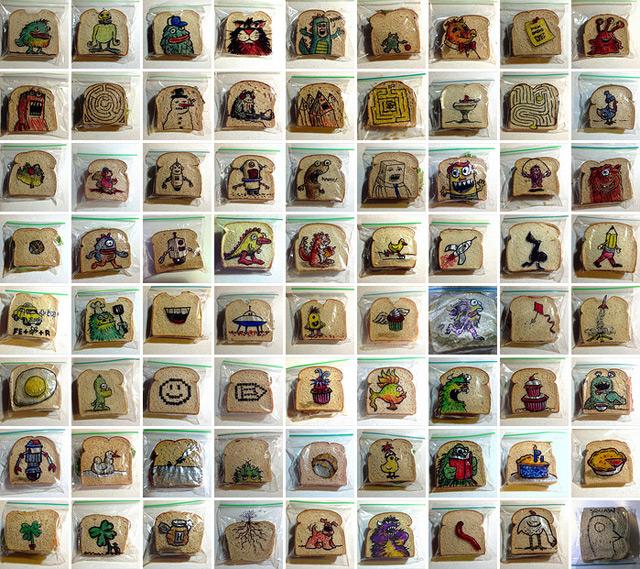Ilustraciones en envoltorios del pan de padre a hijo