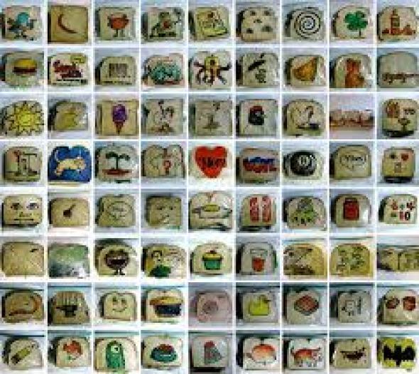 Dibujos en envoltorios de pan
