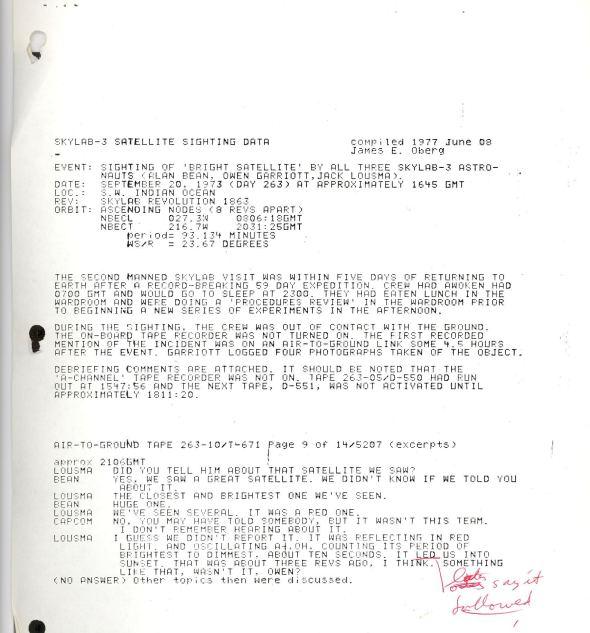 Reporte Skylab del avistamiento OVNI