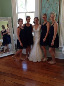 bridesmaid dresses: jcrew - navy eyelet fabric, with gold sandals of their choice