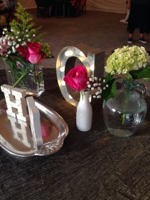 the sweetheart table at reception; borrowed vases, the little white one hanna gave to me years ago