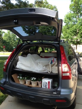 day of wedding - car is loaded with dress and 100 other things