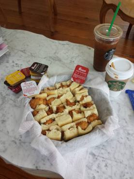 our sweet southern friend elyse brought mini chicken biscuits from chick-fil-a to bride's room!