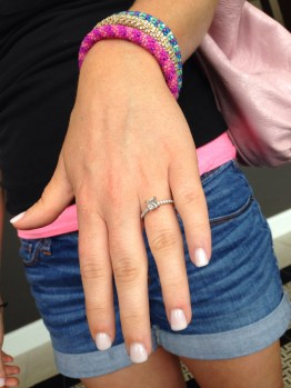 hanna showing off her pedicure AND ring the day before the wedding
