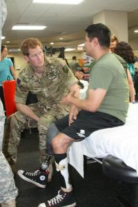 Prince Harry of Wales visited WRNMMC during his time in the United States. The officer in the British Army spent time talking to staff and wounded warriors while touring the Bethesda facilities. (Photos courtesy of Walter Reed National Military Medical Center.)