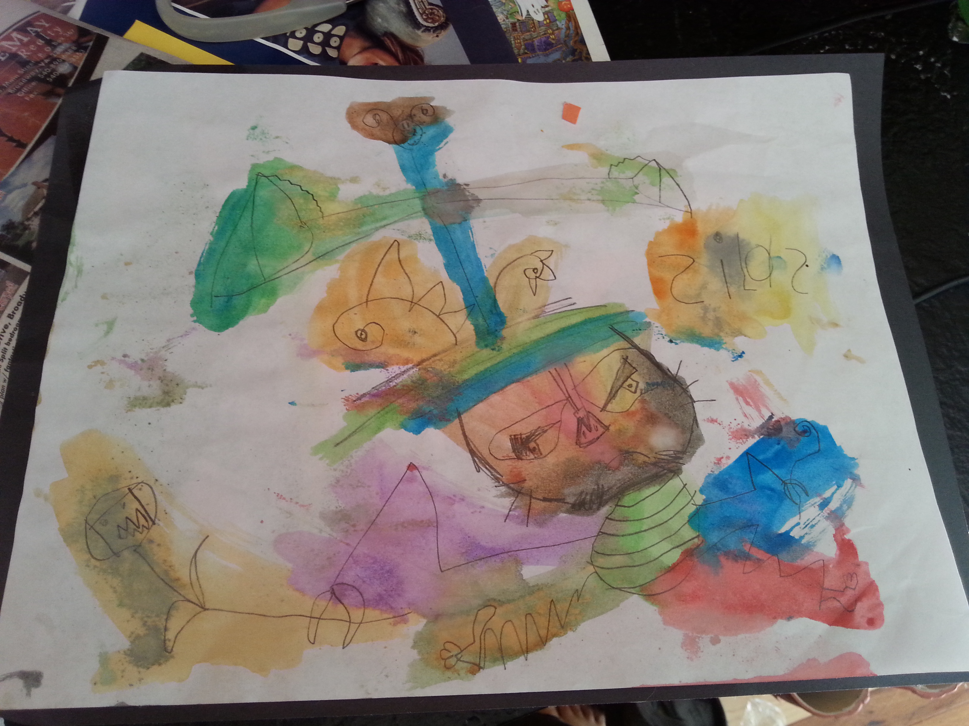 Painting from Homeschool Co-op, at 5 years and one week old