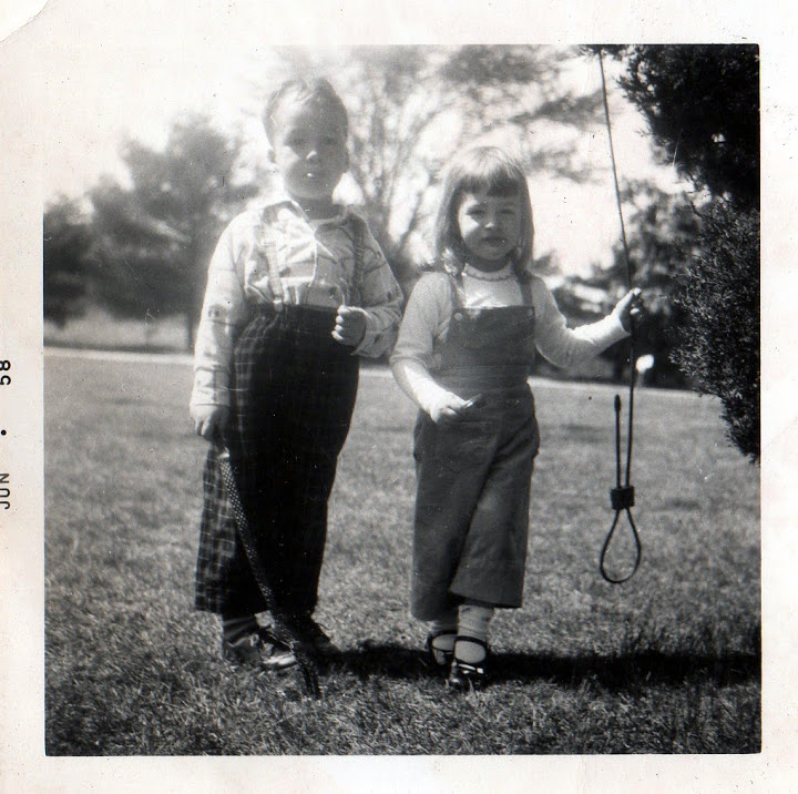 Mom and her brother, Tim, when they were about the same ages as my kiddos.
