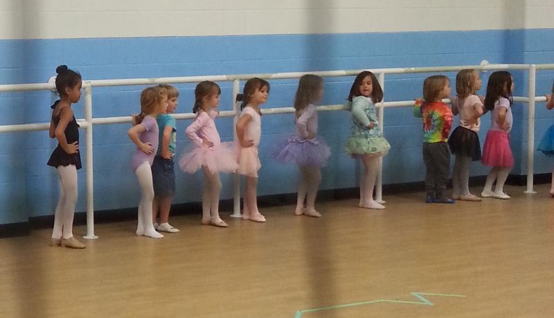 Dance class, watching Miss Cindy.