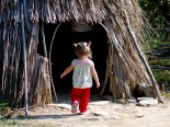 Walking into the Native American village.