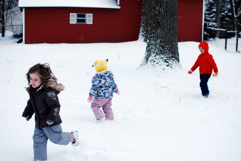 Playing in the snow with Taleah's daughter