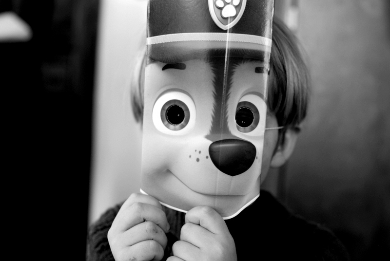 Paw Patrol mask at Noah's birthday party.