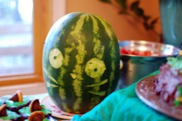Not a great picture, but it's a Totoro face. The backside of the watermelon was opened and filled with fruit salad.