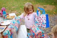 Very, very excited about the Hello Kitty bag and Sesame Street wrapping paper.