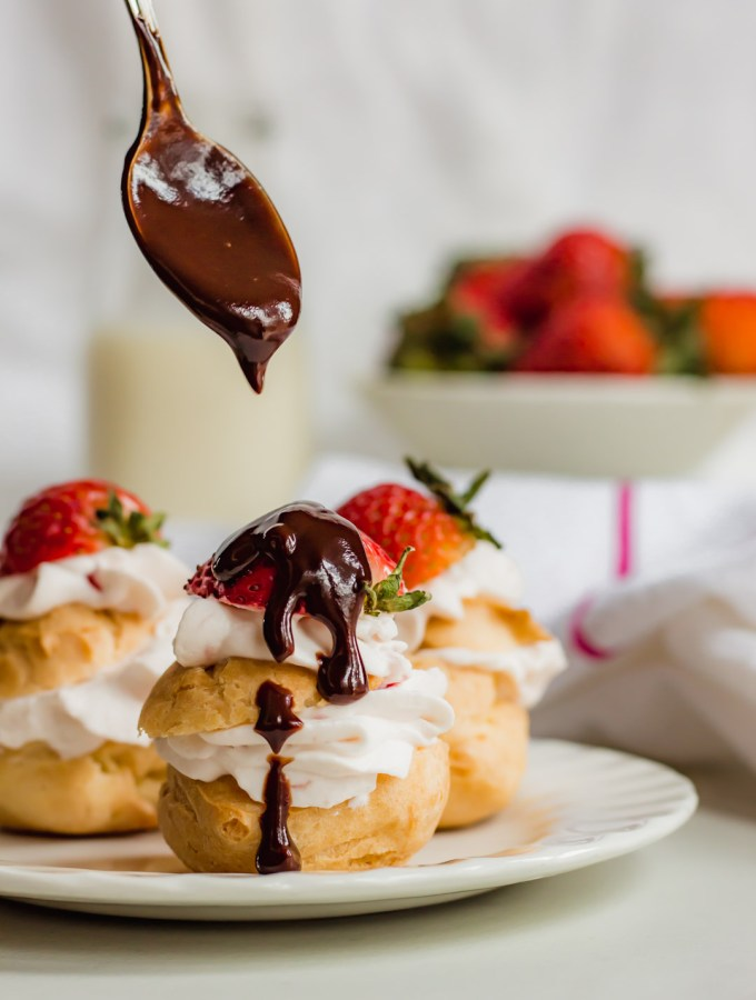 Profiteroles with Strawberry Cream