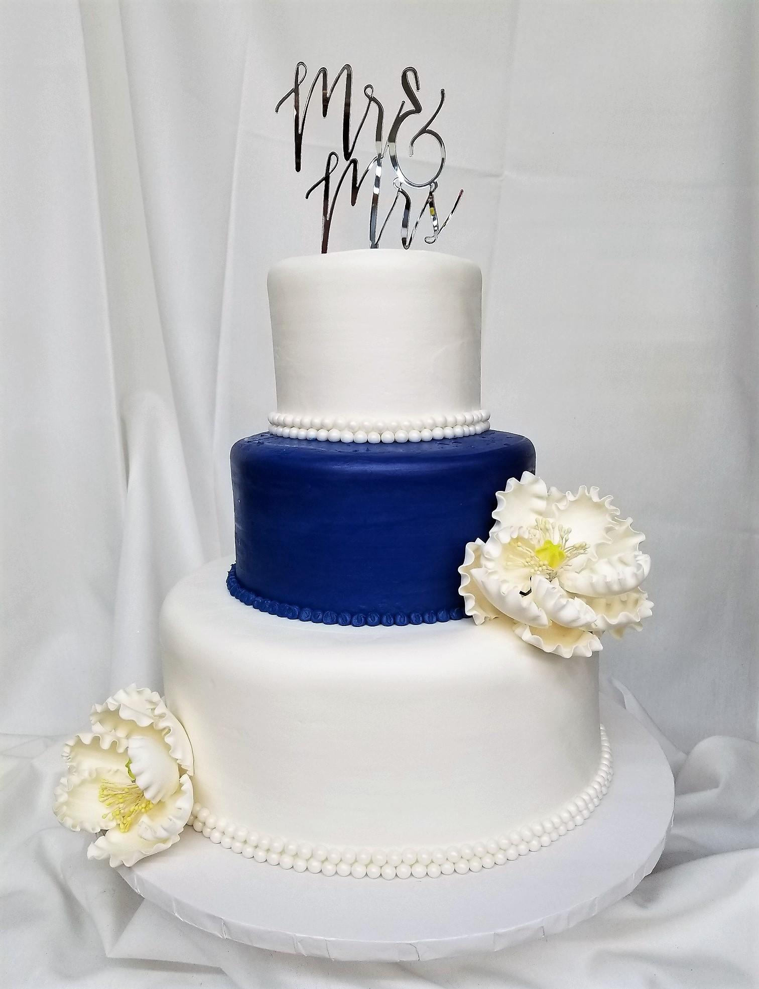 Beaded Blue Peony Wedding Cake From Cinotti S Bakery