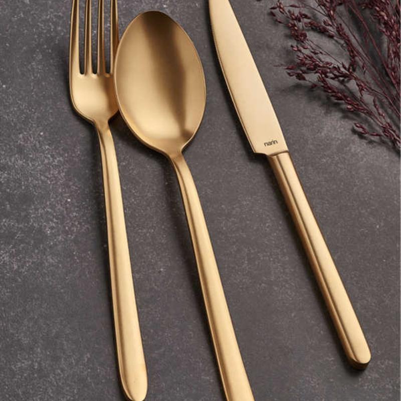 Pladies Mat Altın Çatal Kaşık Bıçak