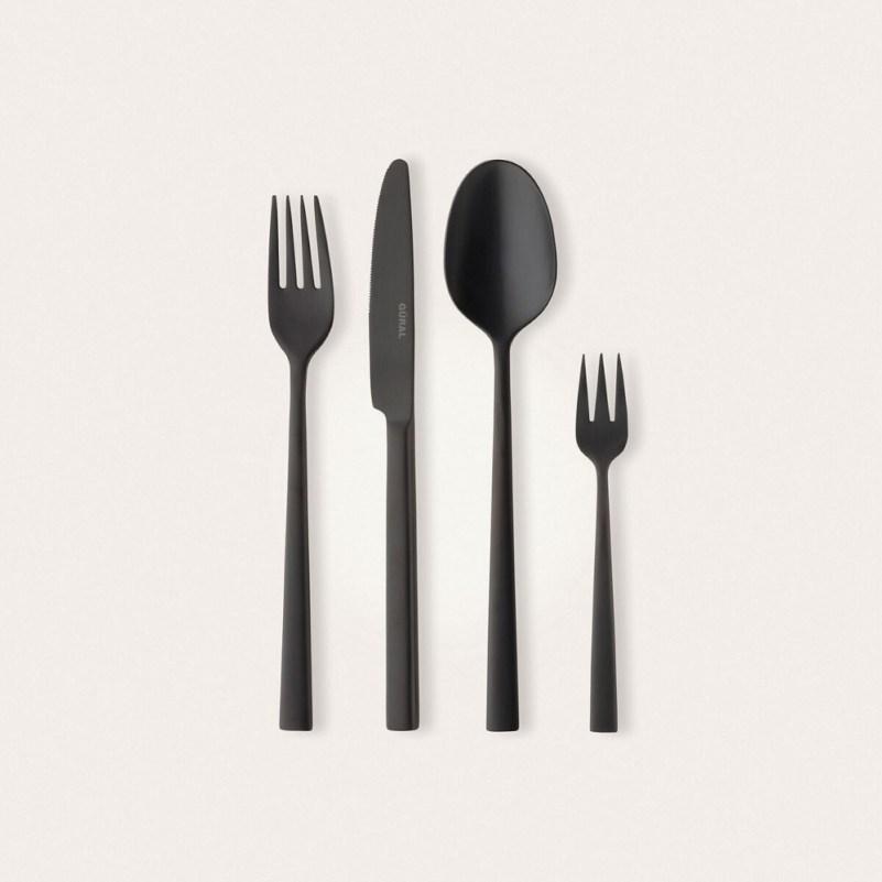 Siyah Parlak 48 Parça Çatal Kaşık Bıçak