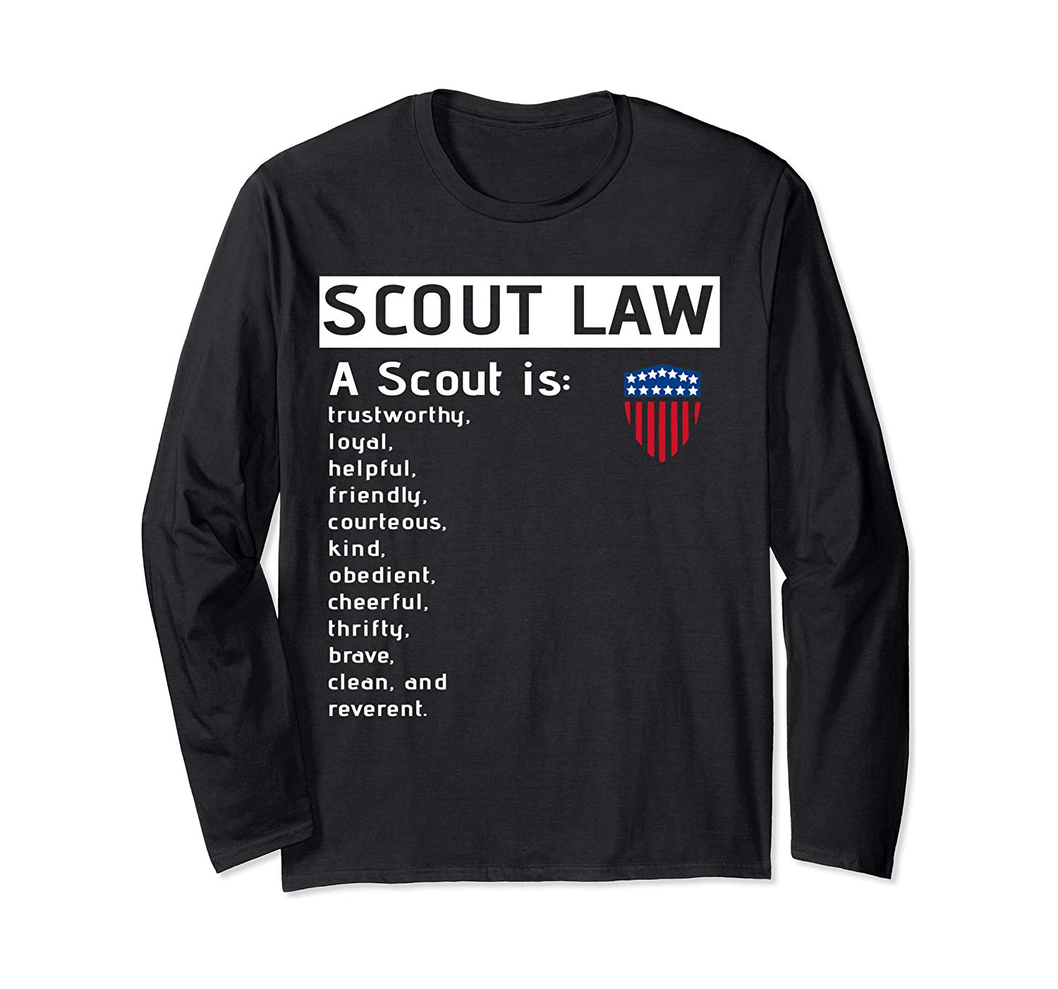 Scout Law Us America Flag Scout For Boys Girls Long Sleeve