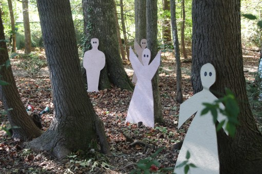 Ghost hiding among the trees.