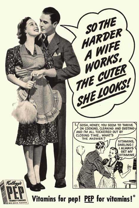 """Publicidade machista antiga: """"quando mais a mulher trabalha na casa, mais linda fica"""""""