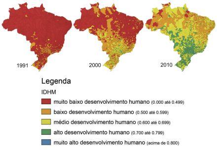 Evolução do Atlas de Desenvolvimento Humano do Brasil entre 1991 e 2010 (IDH). Fonte: ONU.